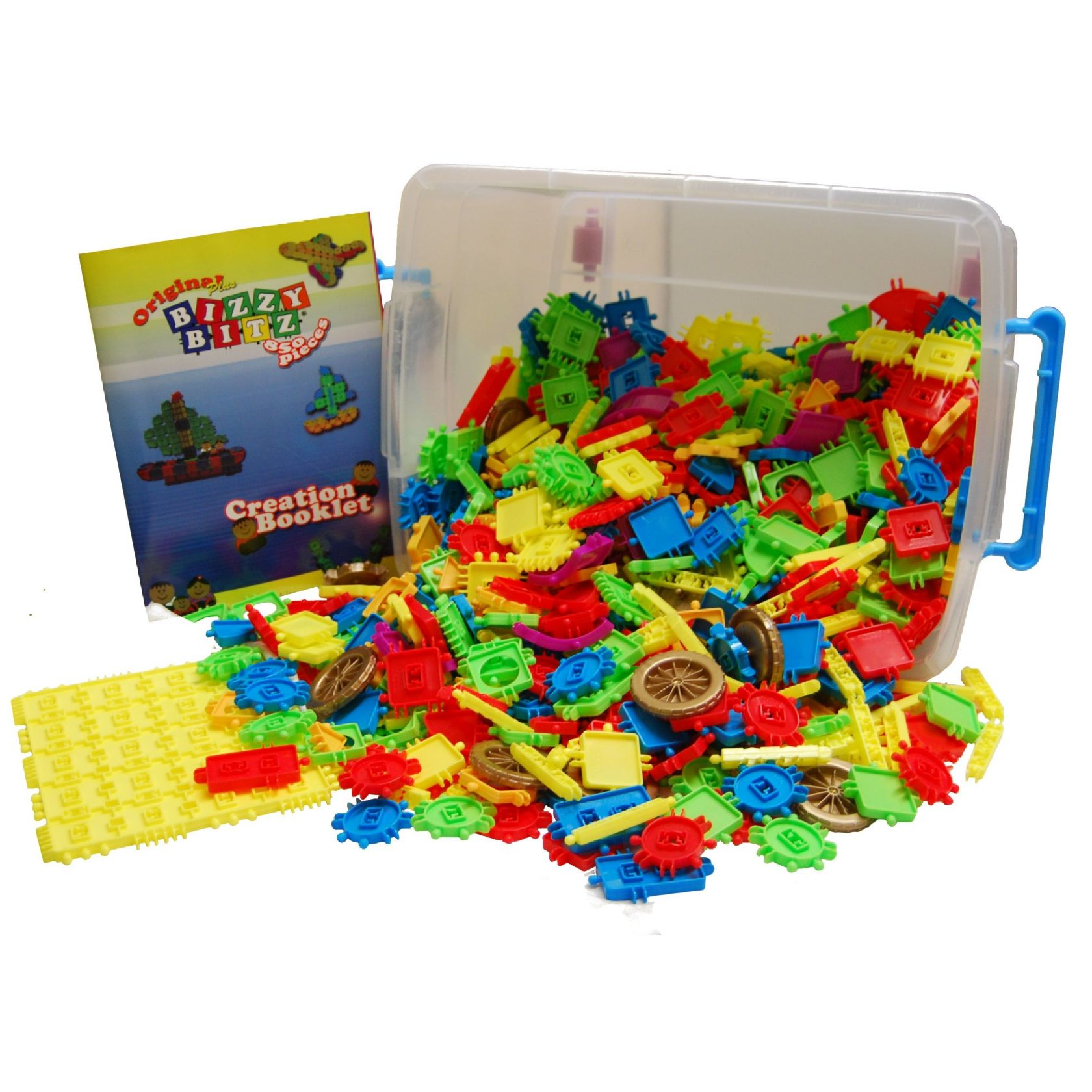 Original plus bizzy bitz construction toys 850 piece plastic tub age